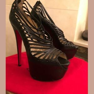 CHRISTIAN LOUBOUTIN 391/2 BLACK ZOULOU 160mm HEEL